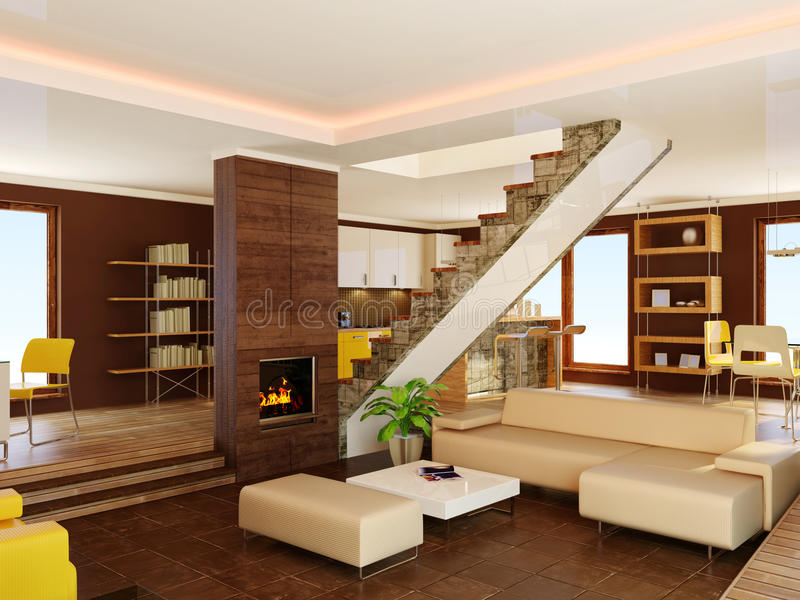 Interior. Modern interior with brown walls royalty free stock photo