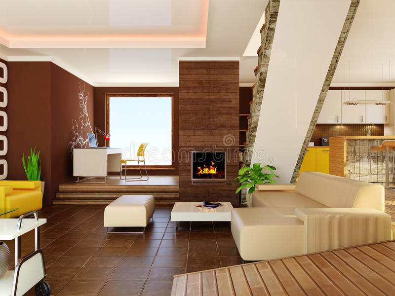 Interior. Modern interior with brown walls royalty free stock images
