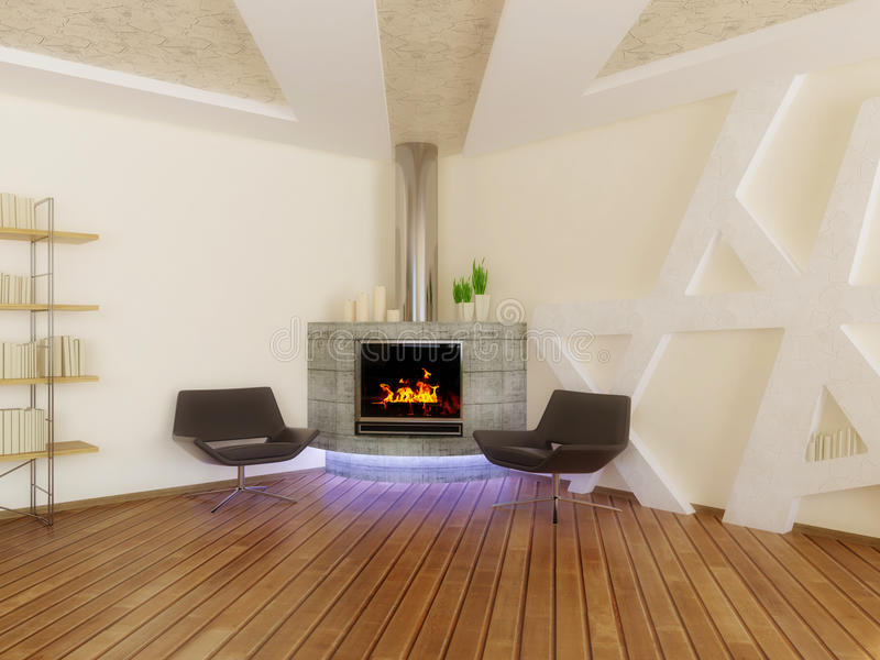 Interior. Concrete fireplace and armchairs in room with white walls stock photography