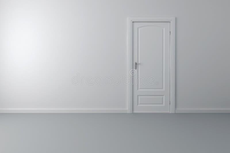 Interior 3d con la puerta y las paredes blancas stock de for Puertas y paredes blancas