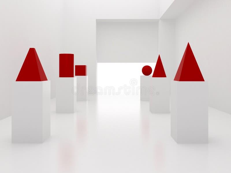 interior 3d con los primitivos stock de ilustración