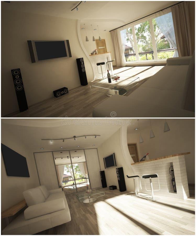 interior 3d de la sala de estar ilustración del vector