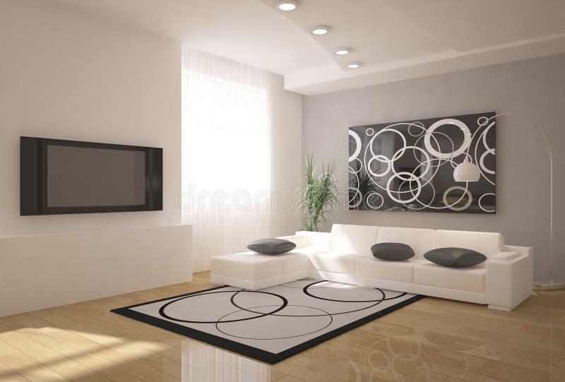 Interior 3d moderno ilustração stock