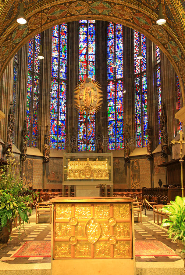 Interior of Aachen cathedral, Germany royalty free stock photo