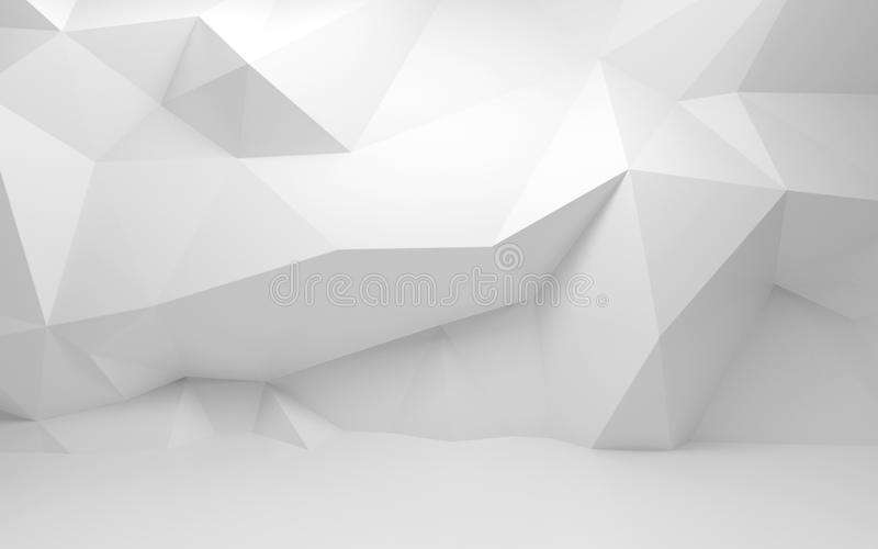 Interior abstracto del blanco 3d con el modelo poligonal en la pared stock de ilustración