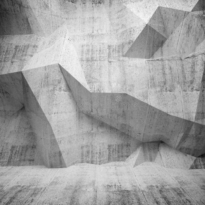 Interior abstracto del hormigón 3d con el modelo poligonal en la pared stock de ilustración