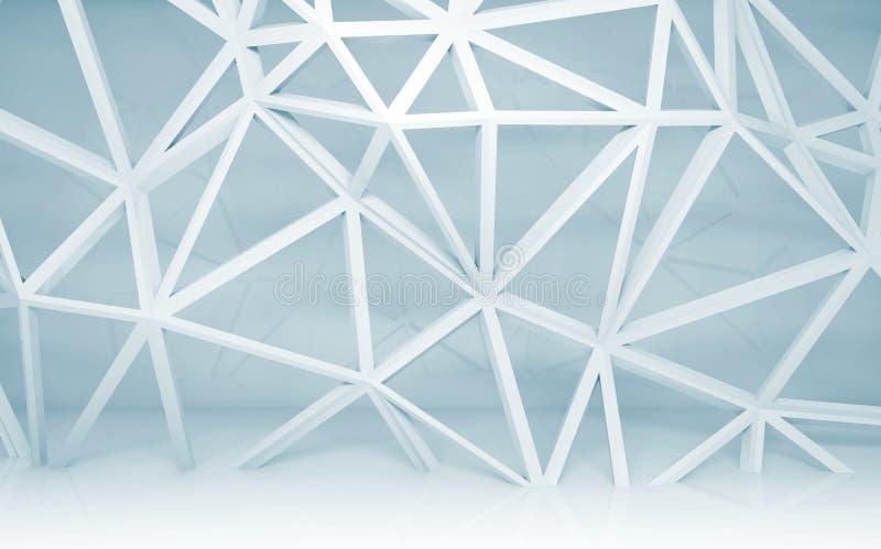 Interior abstracto del sitio blanco con la construcción del marco del alambre 3d stock de ilustración