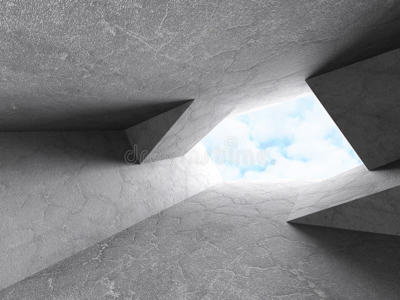 Interior abstracto del sitio del diseño de los muros de cemento Arquitectura Backg ilustración del vector
