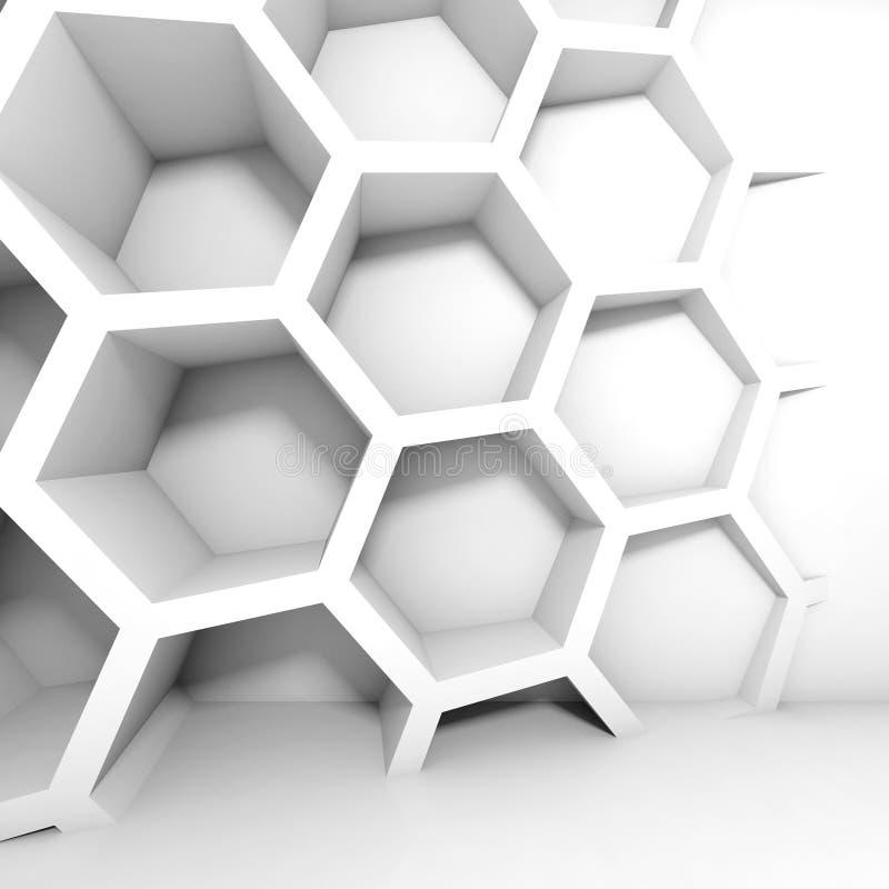 Interior abstrato do branco 3d com favo de mel ilustração do vetor