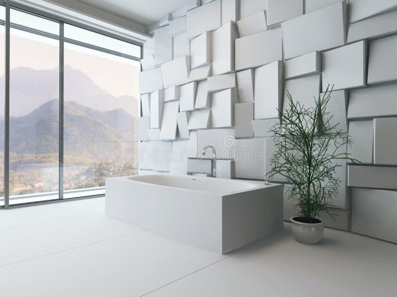 Interior abstrato moderno do banheiro com banheira fotografia de stock royalty free