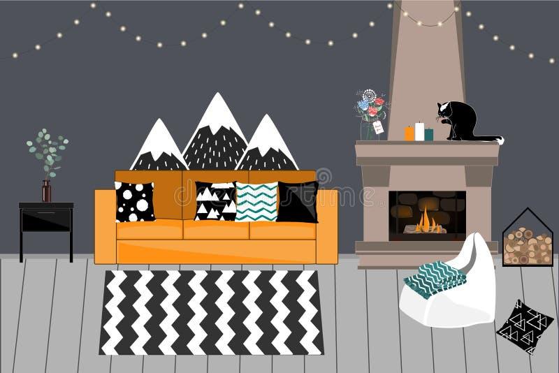 Interior acogedor del vector en estilo escandinavo Sala de estar con la chimenea, sofá brillante cómodo con las almohadas, gris o stock de ilustración
