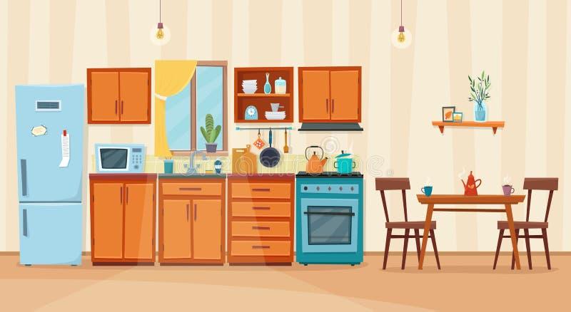 Interior acolhedor da cozinha com mobília e fogão ilustração royalty free
