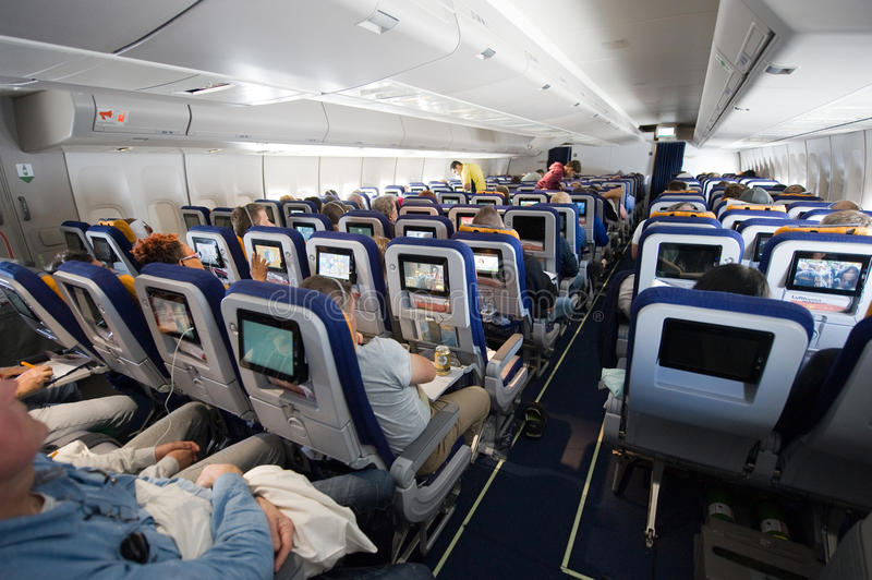 Interior of airplane royalty free stock images