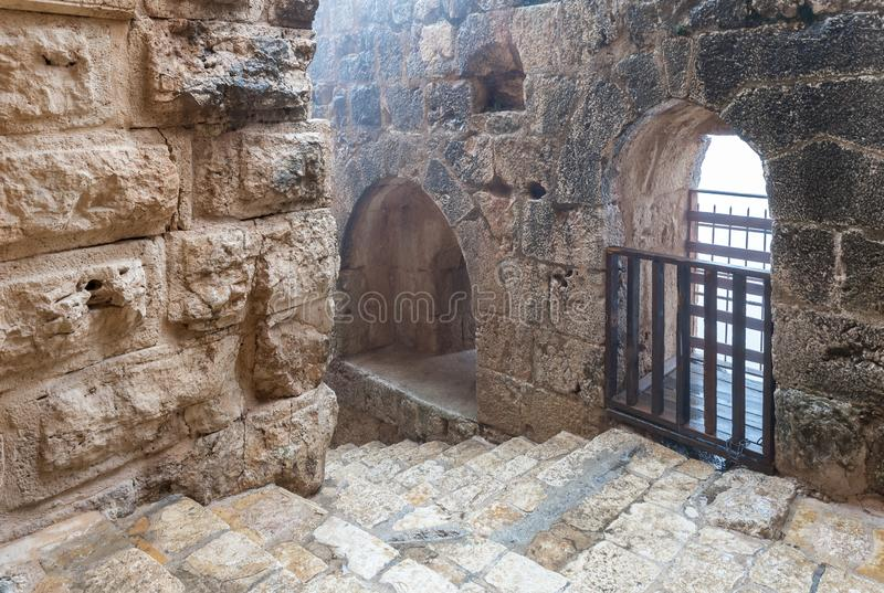 Interior of Ajloun Castle, also known as Qalat ar-Rabad, is a 12th-century Muslim castle situated in northwestern Jordan, near to. Irbid, Jordan, December 08 royalty free stock images