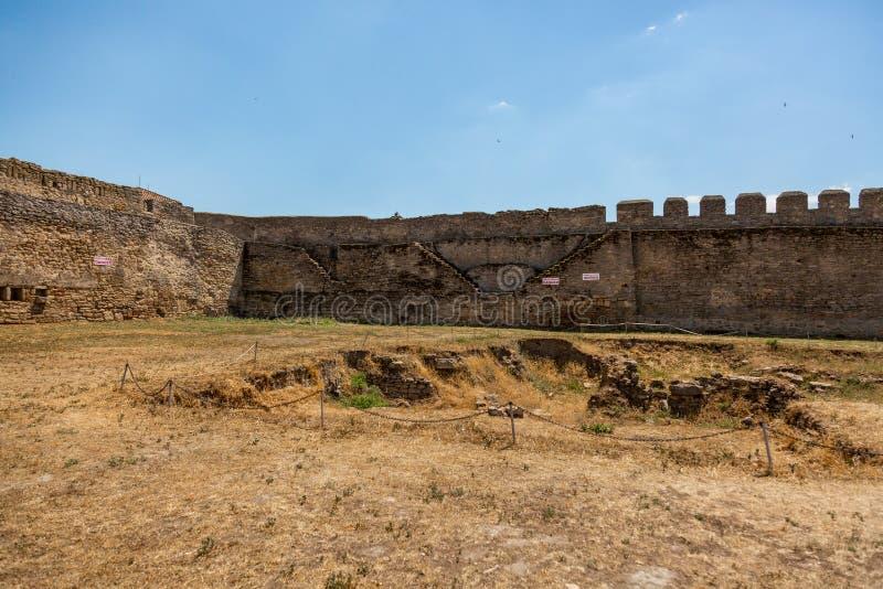 Akkerman Bilhorod-Dnistrovskyi fortress in Ukraine. Medieval castle. Interior of Akkerman Bilhorod-Dnistrovskyi fortress in Ukraine. Medieval castle stock photo