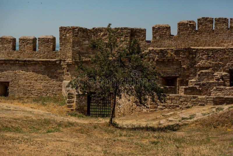 Akkerman Bilhorod-Dnistrovskyi fortress in Ukraine. Medieval castle. Interior of Akkerman Bilhorod-Dnistrovskyi fortress in Ukraine. Medieval castle stock photos