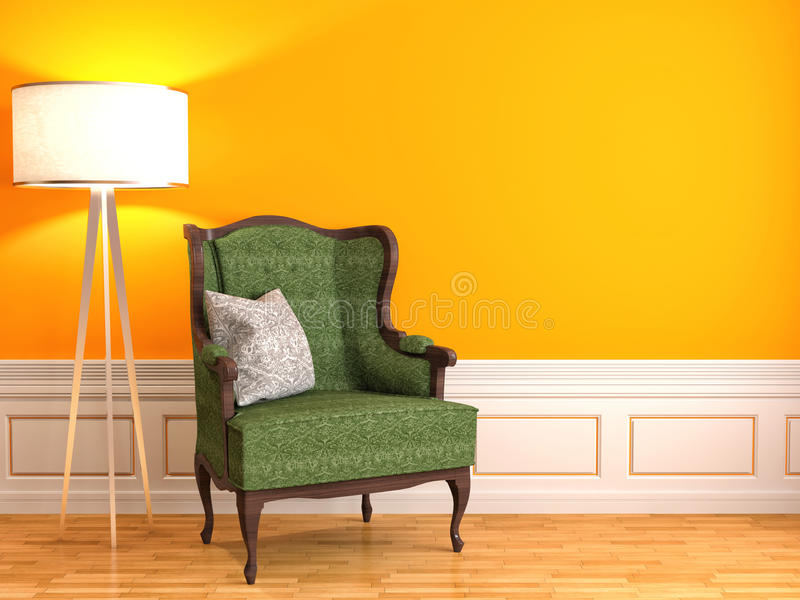 Interior alaranjado com cadeira e lâmpada ilustração 3D ilustração stock