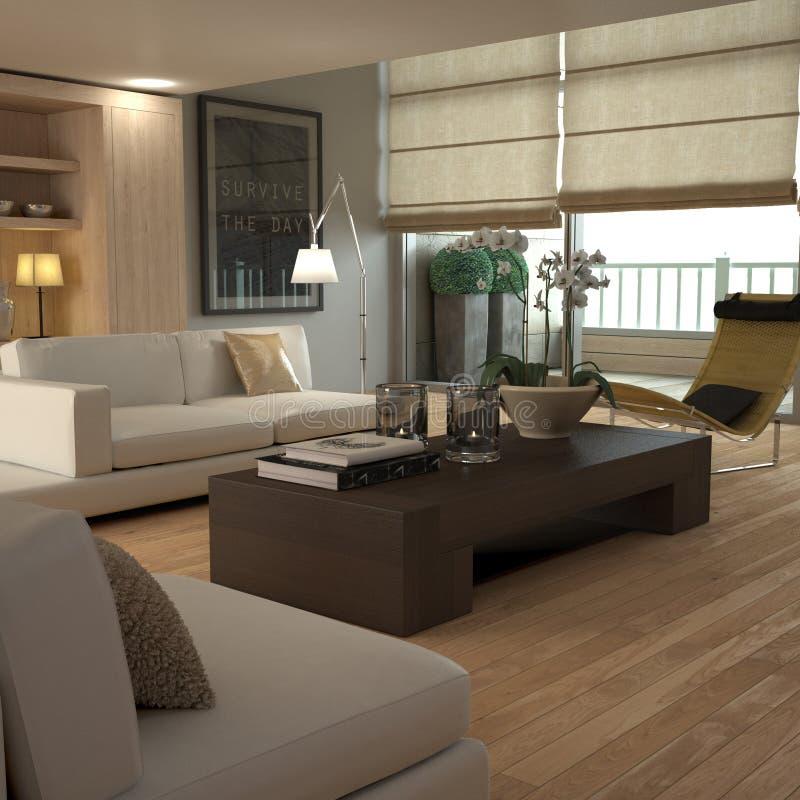 Interior amarillento elegante ilustración del vector