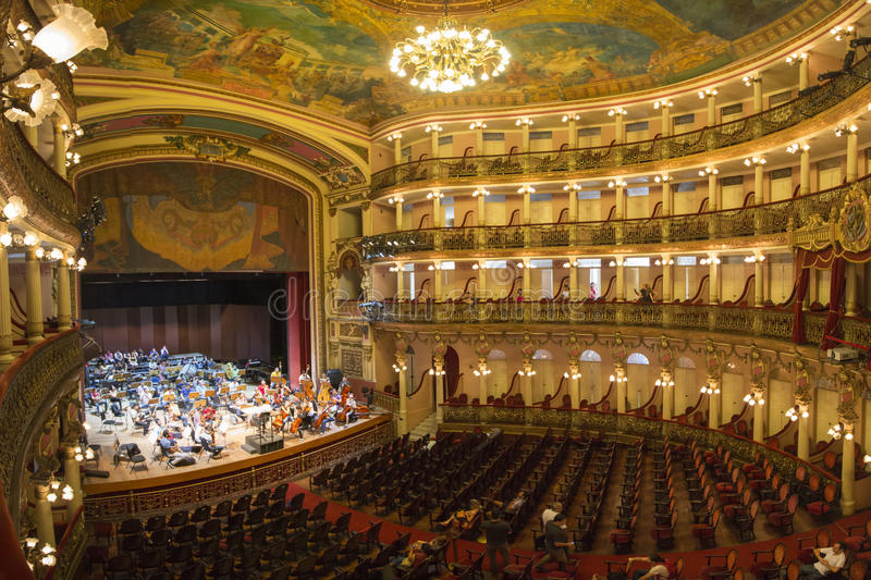 Interior of the Amazon Theatre in Manaus, Brazil. MANAUS, BRAZIL, MARCH 21: Interior of the Amazon Theatre (Portuguese: Teatro Amazonas) with orchestra and a few stock photos
