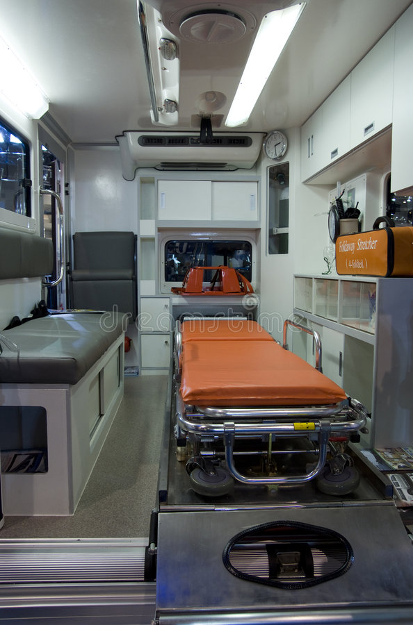 Interior of ambulance. Vehicle with stretcher and emergency equipment royalty free stock photo