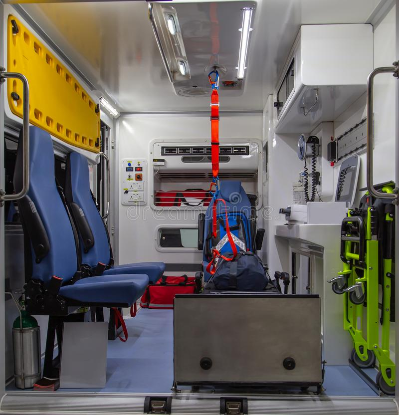 Interior of an ambulance. With bed and patient care equipment royalty free stock images