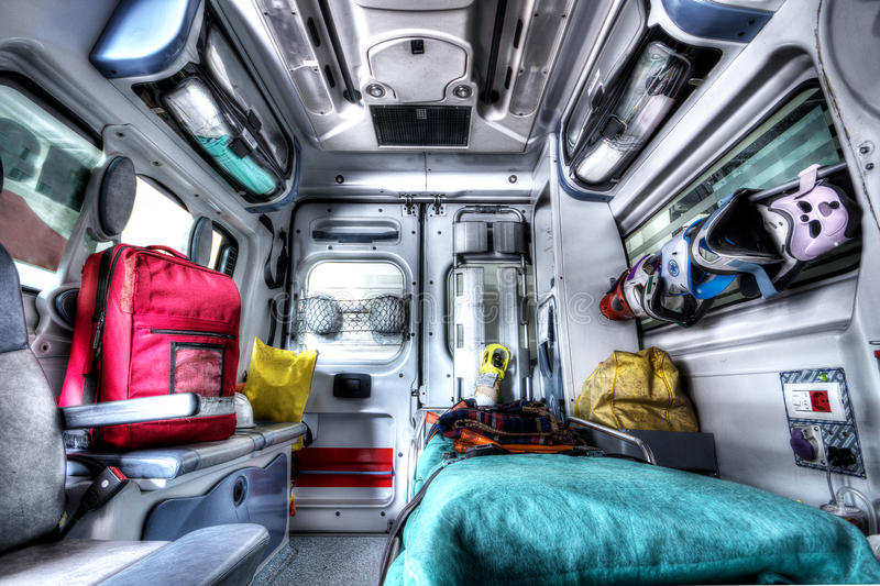 Interior of an ambulance rescue HDR royalty free stock photography