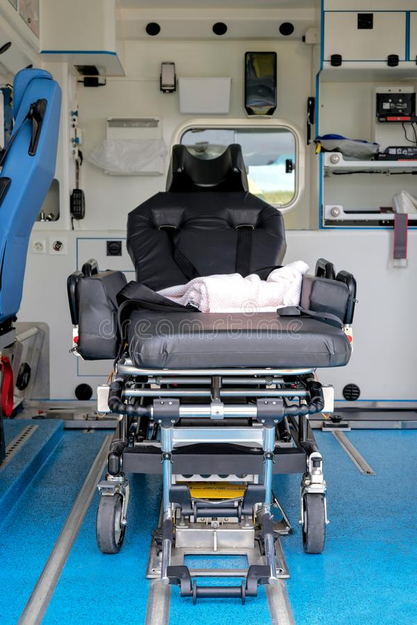 Interior of an ambulance. With stretcher stock photos
