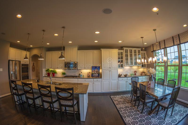 Interior of American Homes in Maryland, USA. MARYLAND, USA - SEPTEMBER 10, 2018: Interior of American Homes in Maryland. Kitchen, dining place and another royalty free stock photography