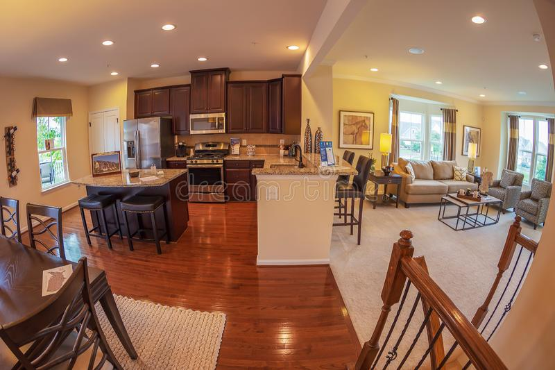 Interior of American Homes in Maryland, USA. MARYLAND, USA - SEPTEMBER 10, 2018: Interior of American Homes in Maryland. Kitchen, dining place and another royalty free stock image