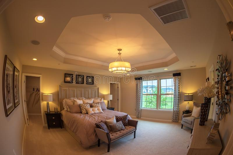 Interior of American Homes in Maryland, USA. MARYLAND, USA - SEPTEMBER 10, 2018: Interior of American Homes in Maryland. Parents` bedroom stock photos