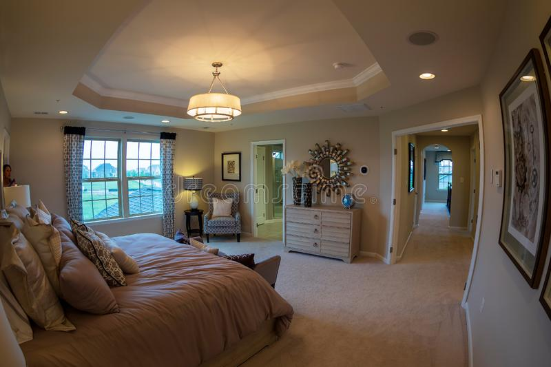 Interior of American Homes in Maryland, USA. MARYLAND, USA - SEPTEMBER 10, 2018: Interior of American Homes in Maryland. Parents` bedroom royalty free stock images