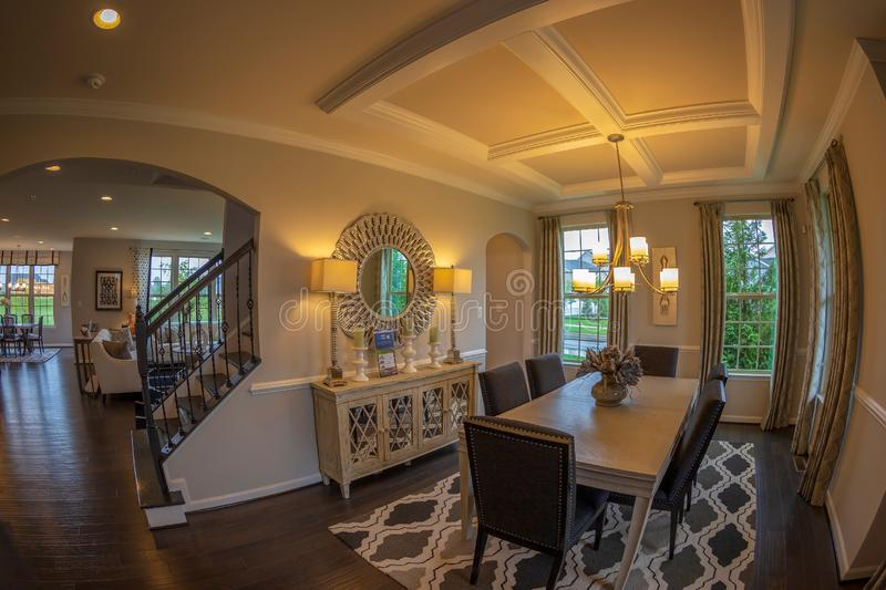 Interior of American Homes in Maryland, USA. MARYLAND, USA - SEPTEMBER 10, 2018: Interior of American Homes in Maryland. Reception room and the relaxation space stock photography