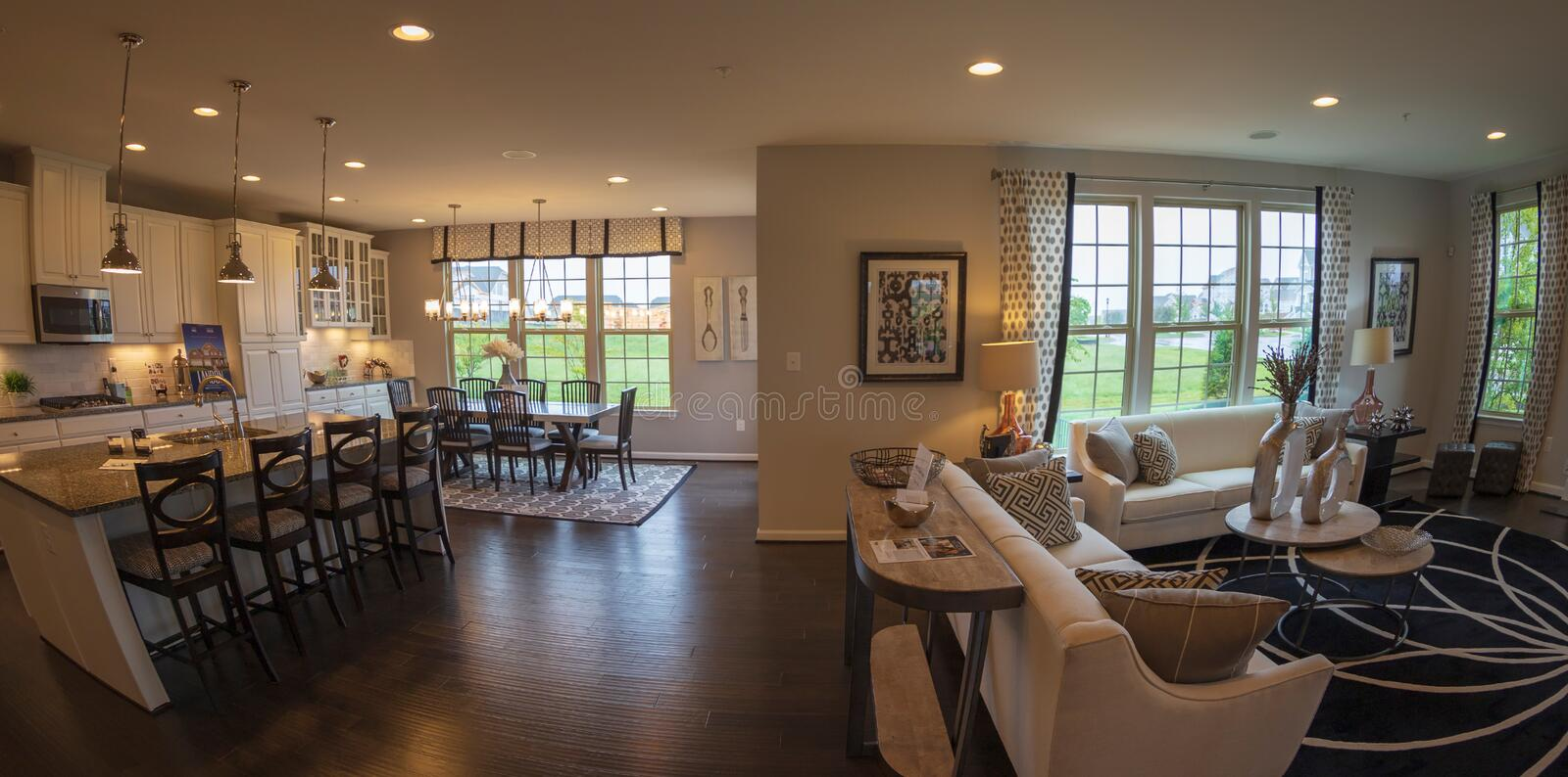 Interior of American Homes in Maryland, USA. MARYLAND, USA - SEPTEMBER 10, 2018: Interior of American Homes in Maryland. Relaxation space and kitchen with dining stock image