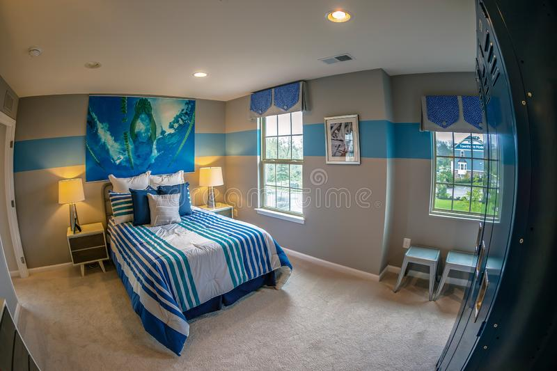 Interior of American Homes in Maryland, USA. MARYLAND, USA - SEPTEMBER 10, 2018: Interior of American Homes in Maryland. The young room stock photos