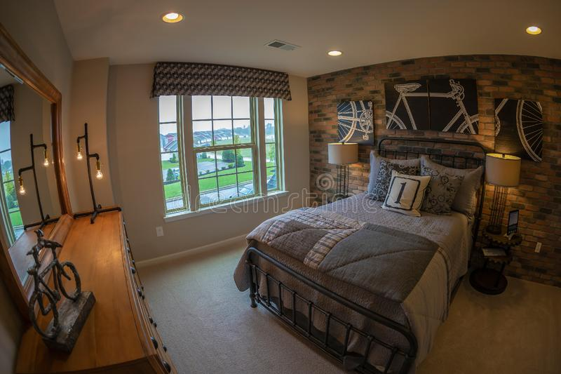 Interior of American Homes in Maryland, USA. MARYLAND, USA - SEPTEMBER 10, 2018: Interior of American Homes in Maryland. The young room stock image
