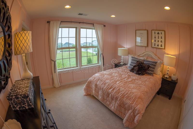 Interior of American Homes in Maryland, USA. MARYLAND, USA - SEPTEMBER 10, 2018: Interior of American Homes in Maryland. A young woman`s room royalty free stock image