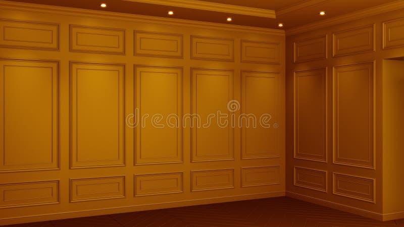 Interior anaranjado cl?sico con el espacio de la copia Paredes rojas con la decoraci?n cl?sica Raspa de arenque del entarimado de libre illustration
