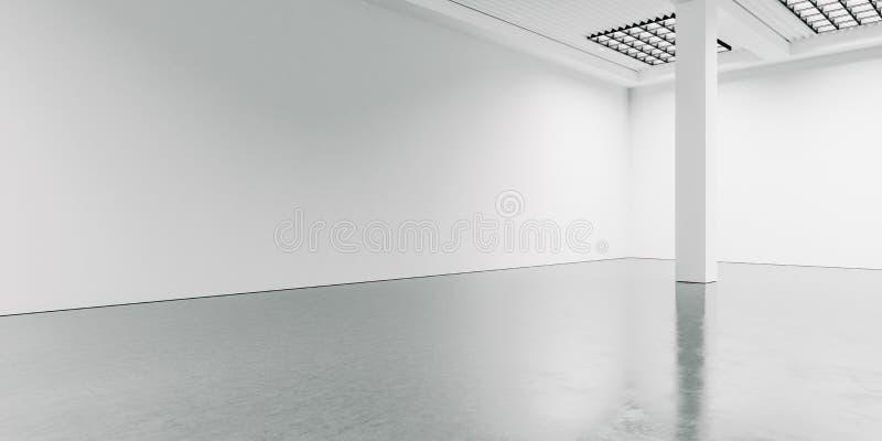 Interior ancho y en blanco con el piso concreto 3d fotografía de archivo libre de regalías