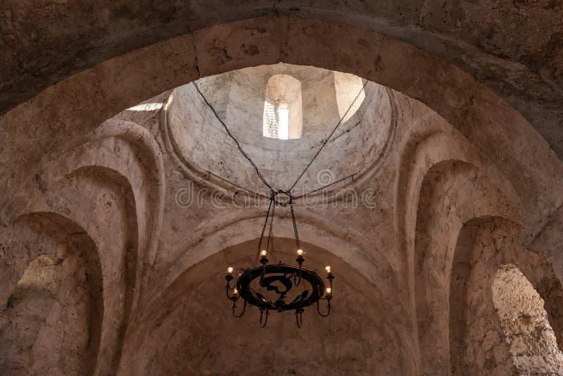 Interior of an ancient Albanian church located in Kish Village, Azerbaijan. Republic stock image