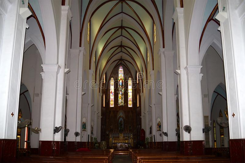 Interior of the ancient Catholic Cathedral of St. Joseph. Hanoi, Vietnam stock photography