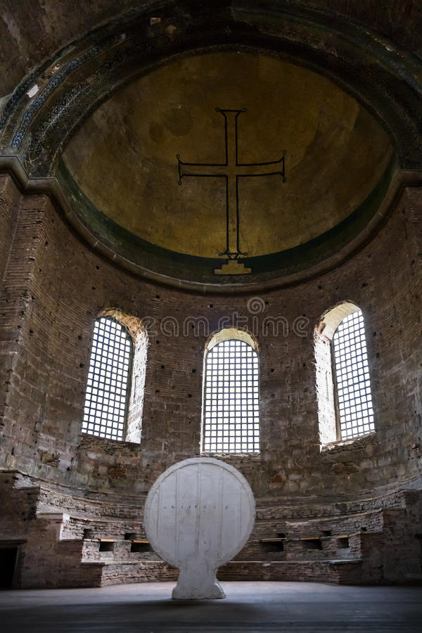 Interior of ancient Hagia Irene church in Topkapi. ISTANBUL, TURKEY - SEPTEMBER 12, 2010: interior of ancient Hagia Irene church in Topkapi palace. It is the royalty free stock photos