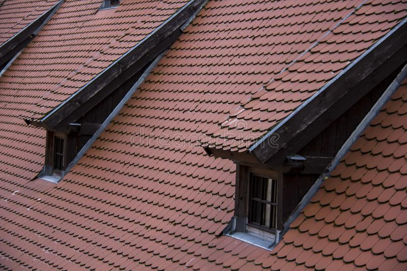 Interior andexterior dietails roof window of the Livonia Order Castle was built in the middle of the 15th century. Bauska Latvia stock images