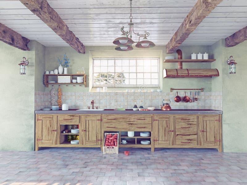 Interior antiquado da cozinha ilustração do vetor