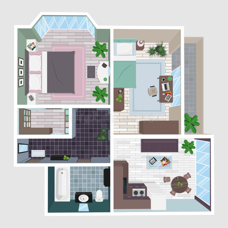 Interior of the apartment in perspective. stock illustration