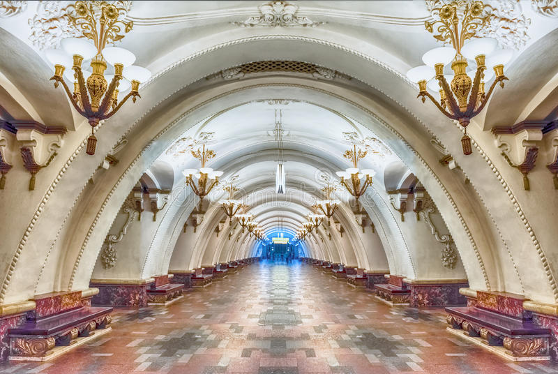 Interior of Arbatskaya subway station in Moscow, Russia stock images