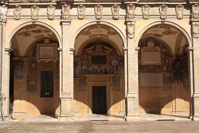 The Archiginnasio of Bologna. Interior of the Archiginnasio of Bologna. Emilia-Romagna. Italy stock photography