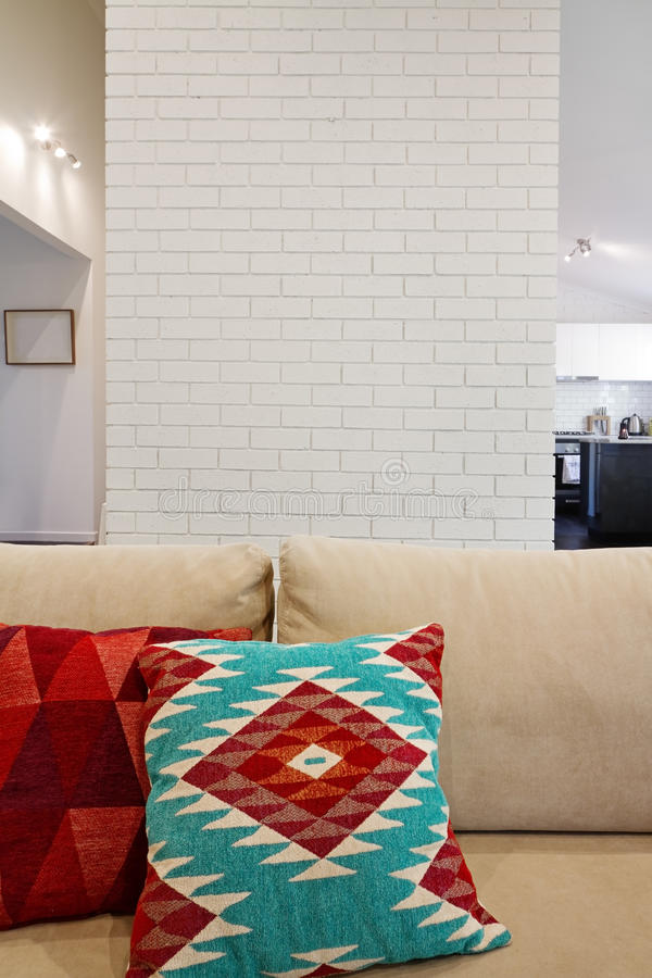 Interior architectural brick feature wall with space for text. Interior architectural painted brick feature wall with space for text royalty free stock images