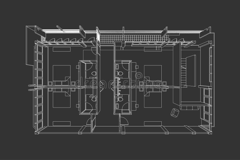 Interior architecture abstract, 3d illustration, floor plan stock illustration