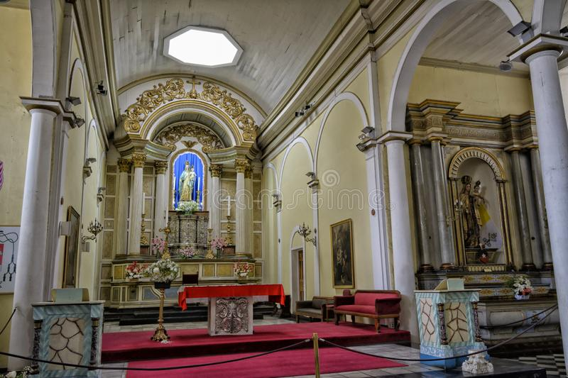 Interior architecture of the altar of the cathedral church of Copiapó, Chile stock image