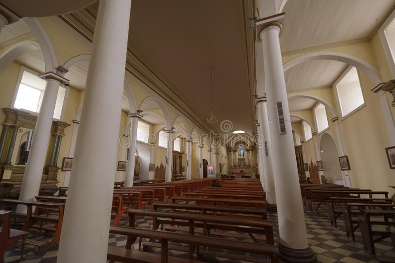 Interior architecture of the Copiapó cathedral church. Chile stock photo